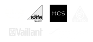 Accreditation logos for Gas Safe, MCS, Vaillant, CHAS, OFTEC, Worcester Bosch